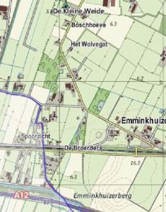 Figuur 22: Detail van de kaart links: de Biesbosserweg.