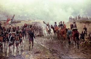 """Figuur 9: """"Artist impression""""van een veldslag van Napoleon in Rusland."""