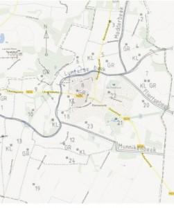 Figuur 15: De ligging van de boerderijen in Renswoude in 1832, met een kaart van het huidige Renswoude als achtergrond.