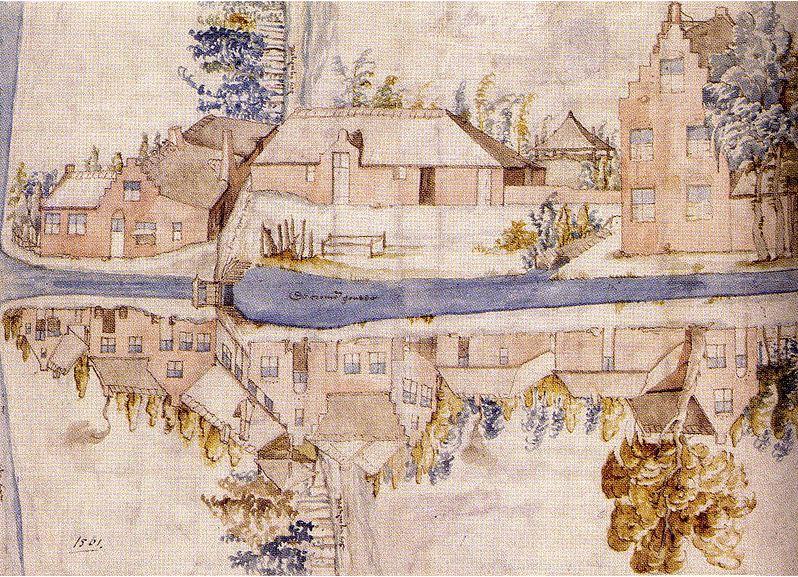 Tekening van Gouwsluis en de Gouwse sluis in 1561.