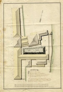 Situatietekening van de zuidelijke pannenbakkerij aan de westkant van de Heimanswetering