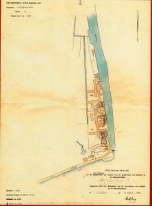 Kadastrale kaart van het fabriekscomplex van Van der Kloot Meijburg aan de Heimanswetering te Oudshoorn in 1956