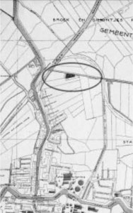 Locatie van molen Het Zwarte Schaap op de stadsplattegrond van Leiden van 1920.